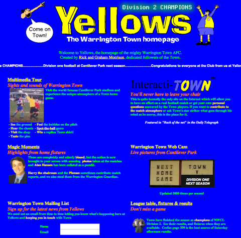 Yellows - the Warrington Town Homepage